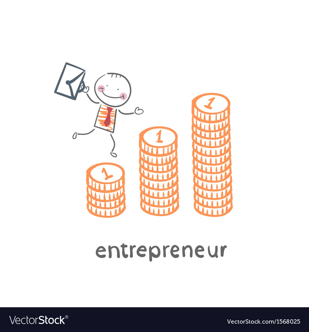 Entrepreneur climbing up the schedule of the coins vector | Price: 1 Credit (USD $1)
