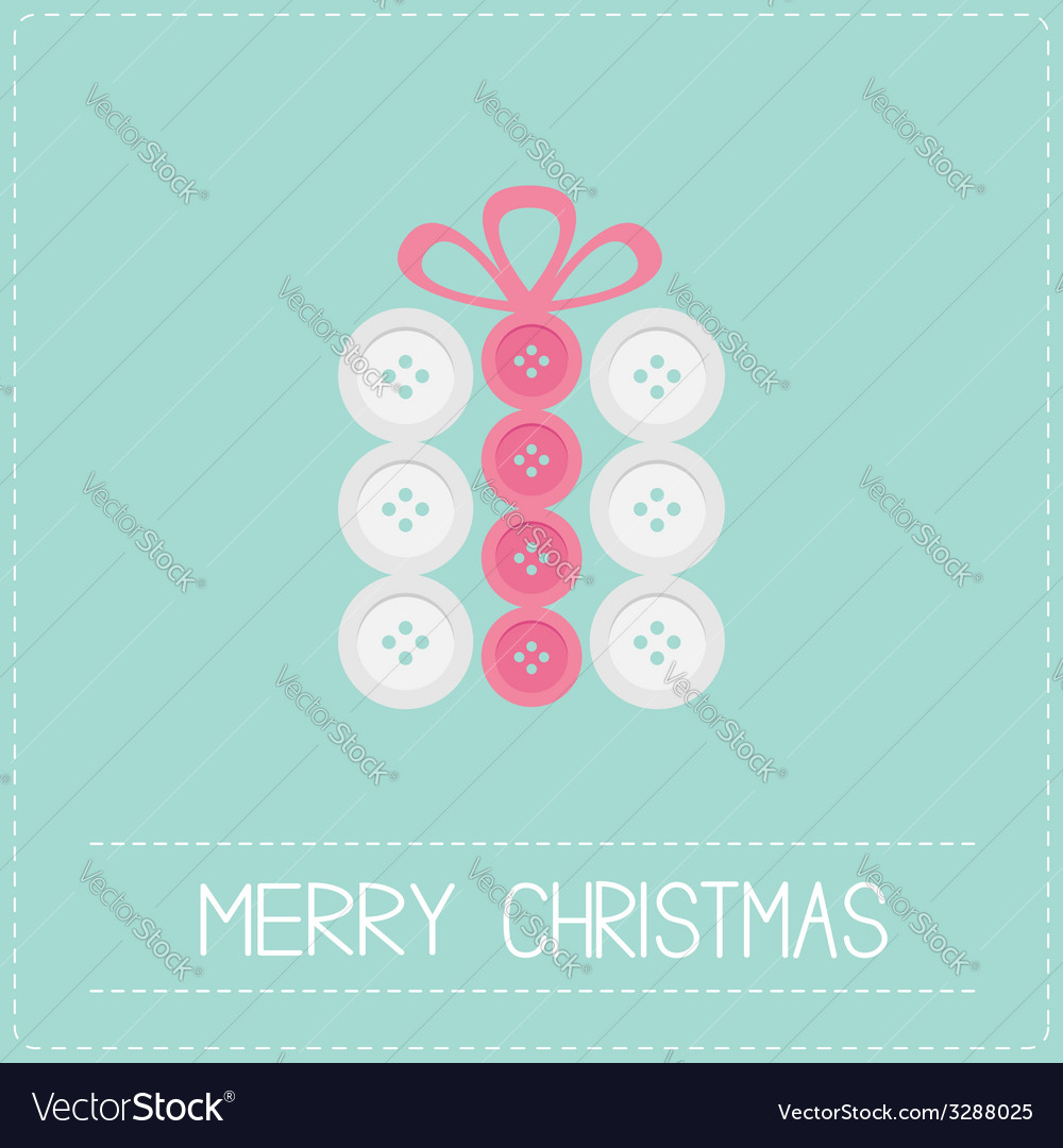 Gift box made from white pink buttons appligue vector | Price: 1 Credit (USD $1)