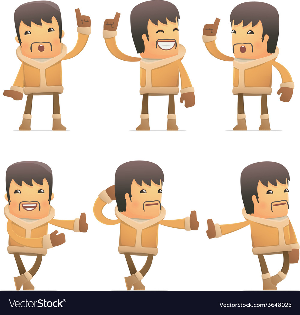 Set of eskimo character in different poses vector   Price: 1 Credit (USD $1)
