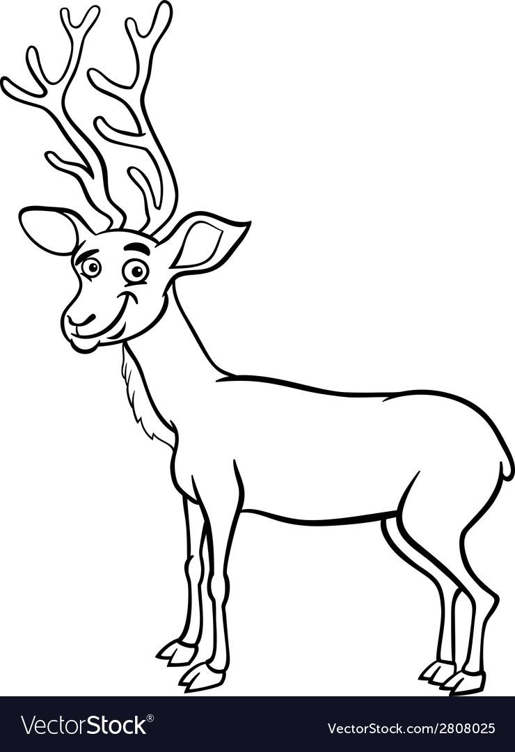 Wapiti deer cartoon coloring page vector | Price: 1 Credit (USD $1)