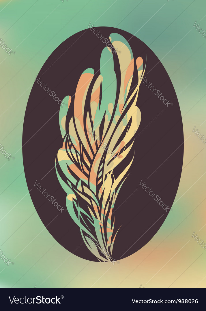 Abstract feather in black frame vector | Price: 1 Credit (USD $1)