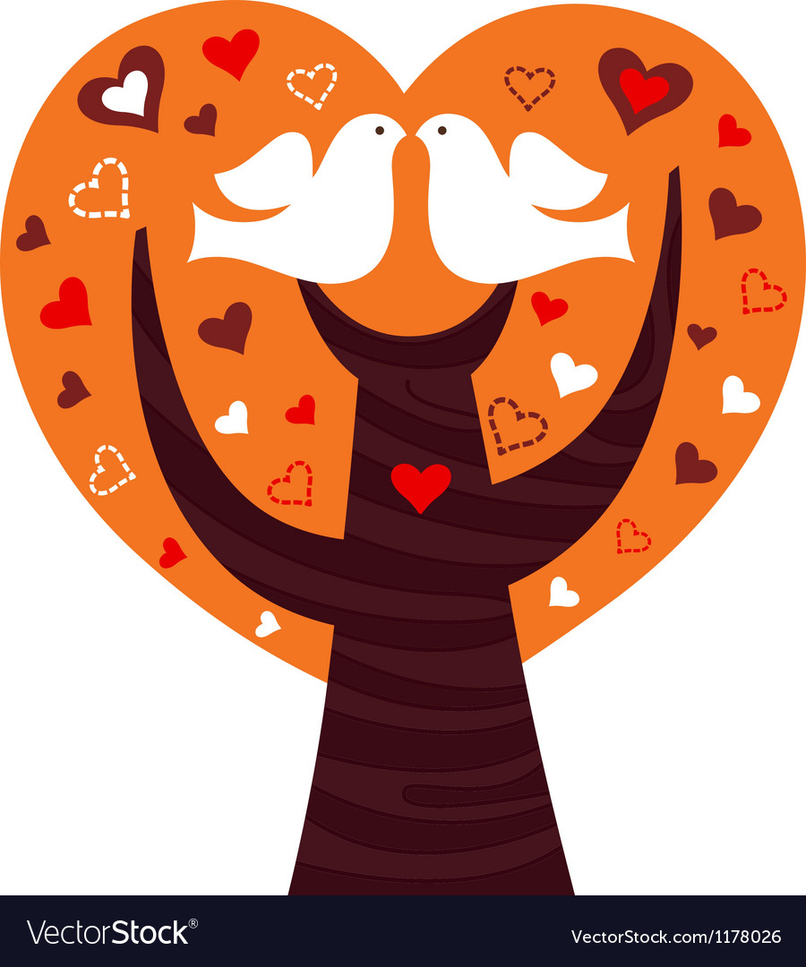 Birds couple in a orange heart tree vector | Price: 1 Credit (USD $1)