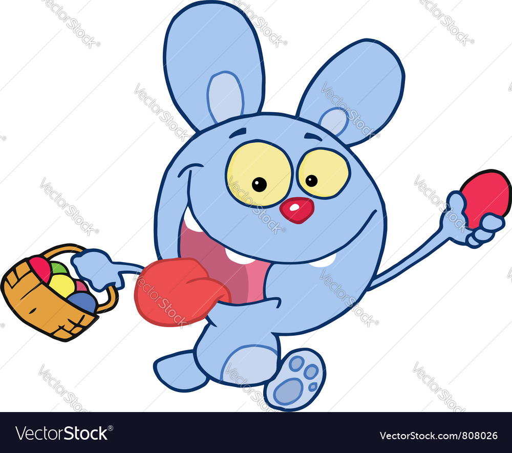 Blue bunny running and holding up an egg vector | Price: 1 Credit (USD $1)