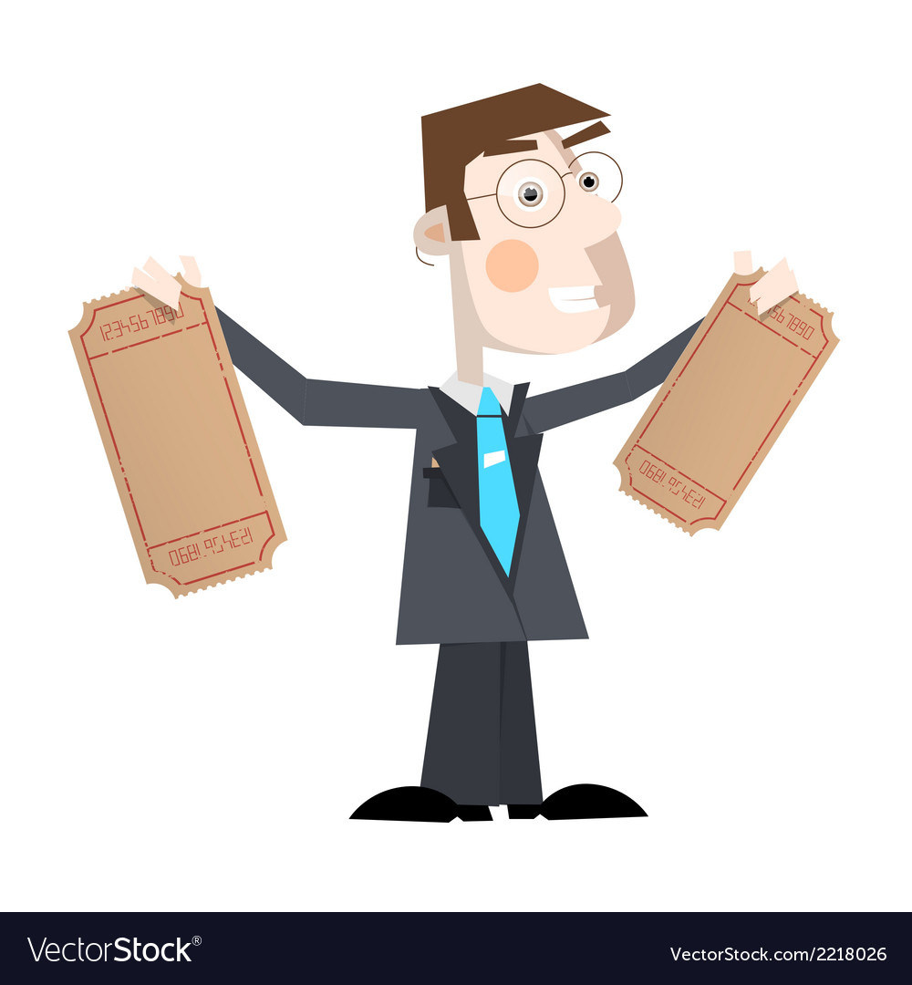 Business man with empty tickets vector | Price: 1 Credit (USD $1)