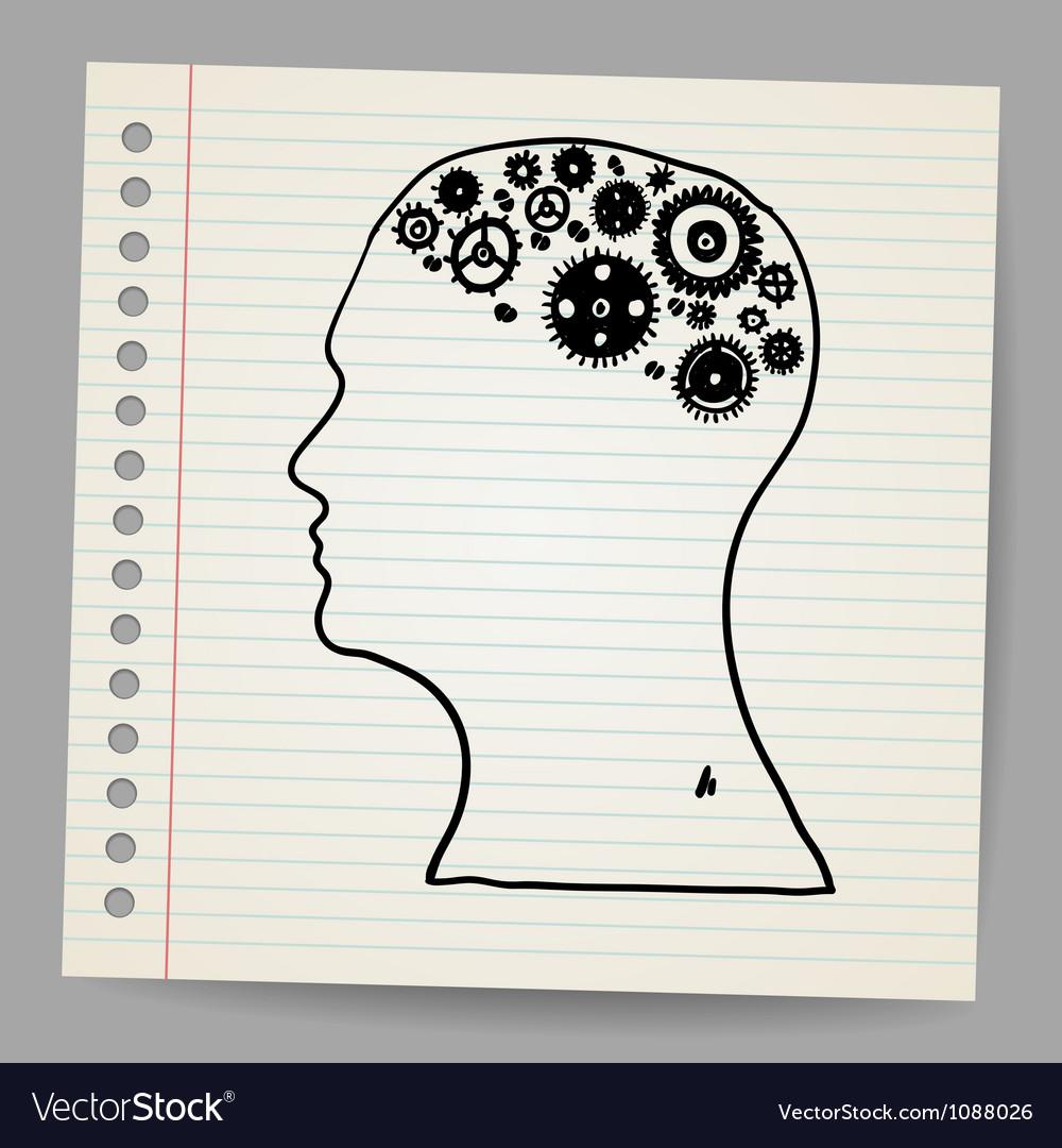 Doodle cog wheels forming a brain vector | Price: 1 Credit (USD $1)