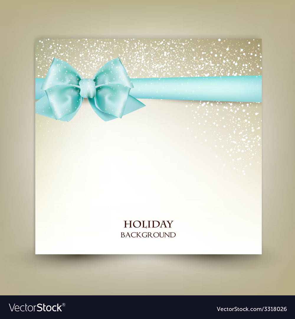 Elegant christmas greeting card with blue bow and vector | Price: 3 Credit (USD $3)