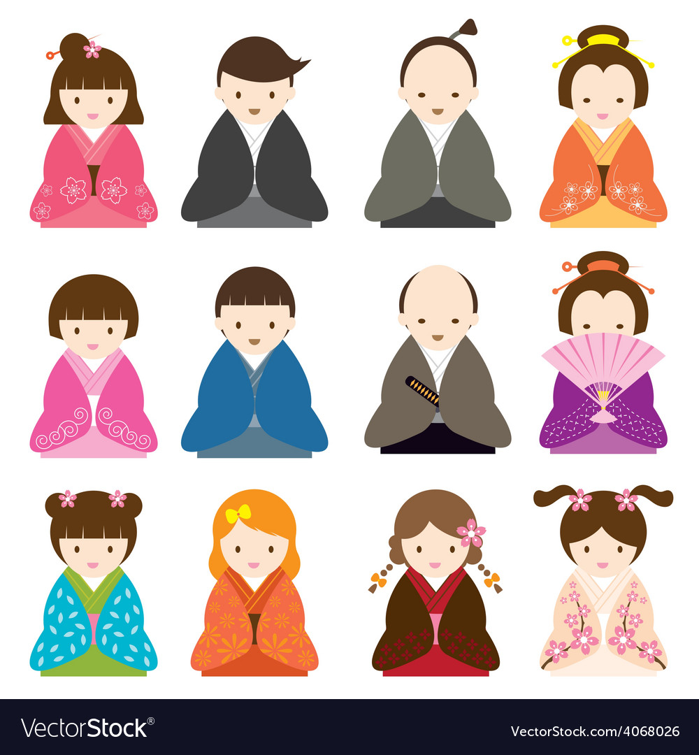 Japanese people dress in traditional costume set vector | Price: 1 Credit (USD $1)