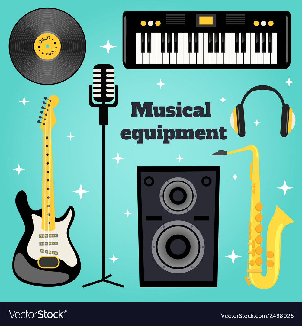 Music equipment set vector | Price: 1 Credit (USD $1)