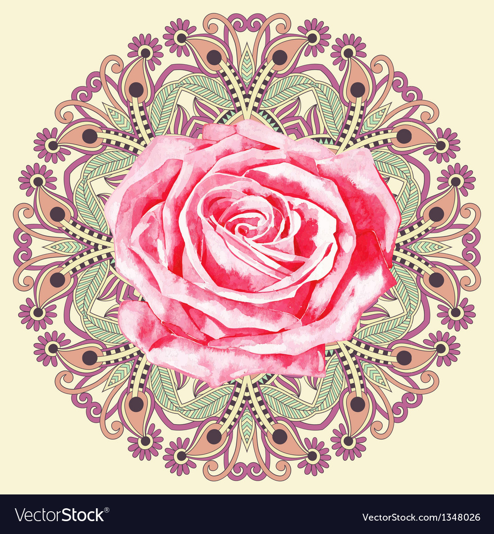 Ornamental circle pattern with watercolor rose vector | Price: 1 Credit (USD $1)