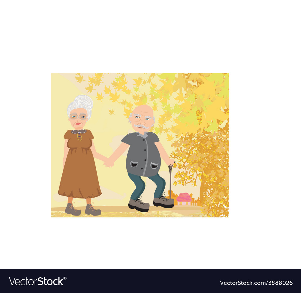 Senior couple walking in autumn day vector | Price: 1 Credit (USD $1)