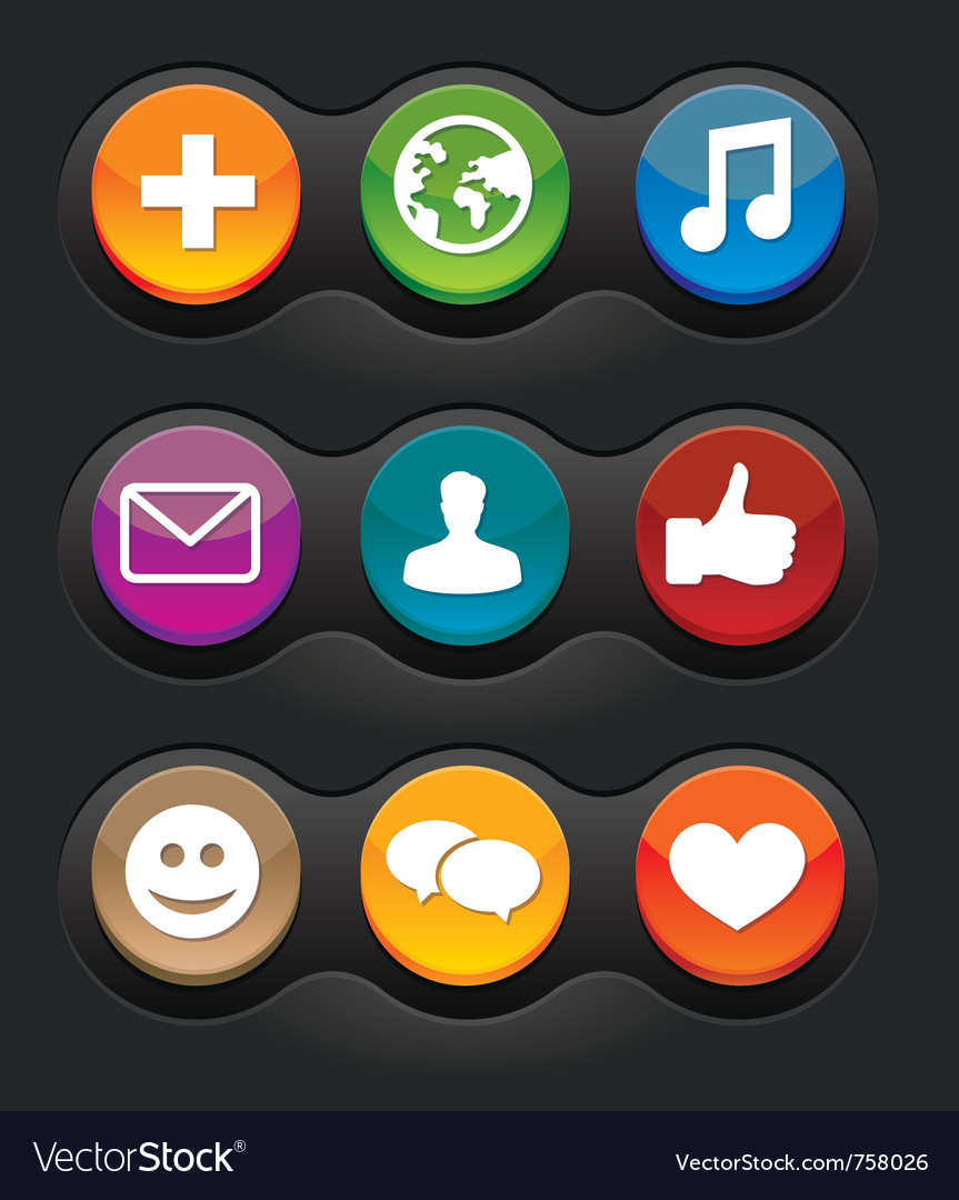 Set of nine social media buttons on black backgrou vector | Price: 1 Credit (USD $1)