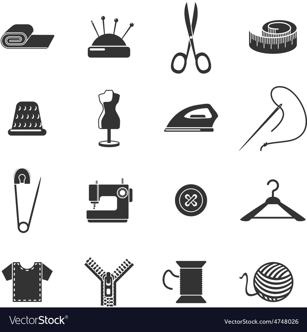 Sewing icon black set vector | Price: 1 Credit (USD $1)
