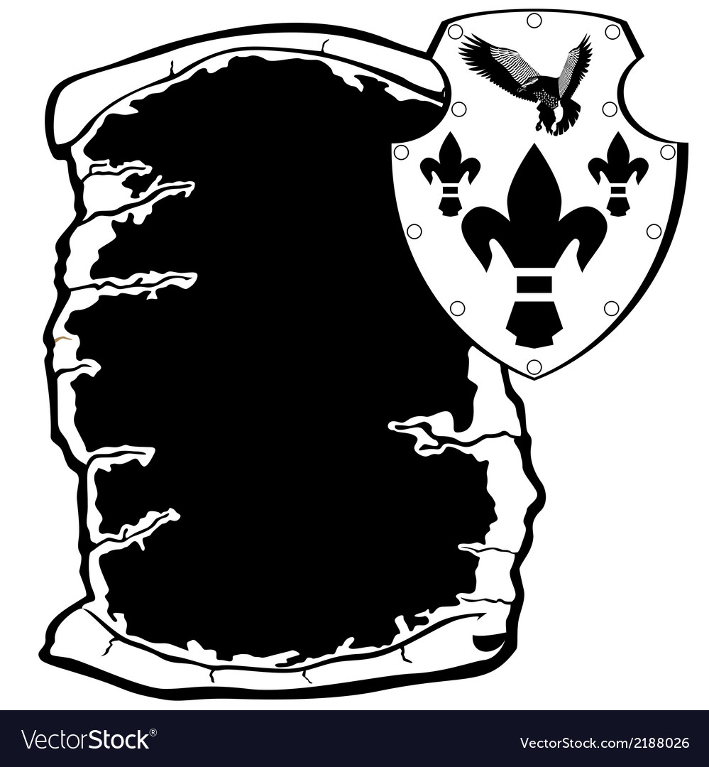 Shield and parchment vector | Price: 1 Credit (USD $1)