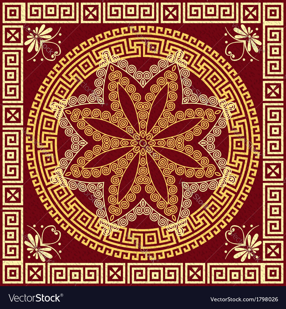 Traditional vintage golden greek ornament meander vector | Price: 1 Credit (USD $1)