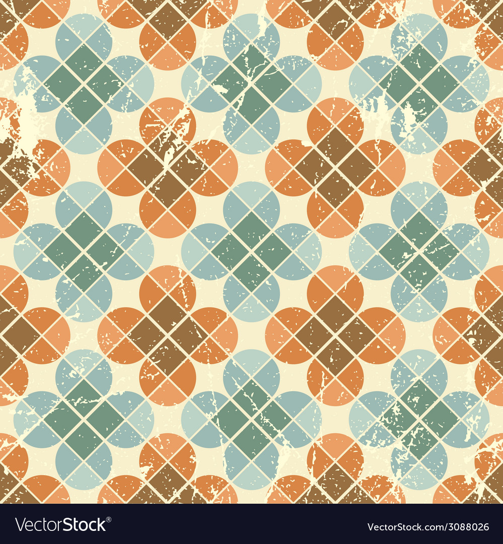 Vintage flower tiles with grunge texture seamless vector | Price: 1 Credit (USD $1)