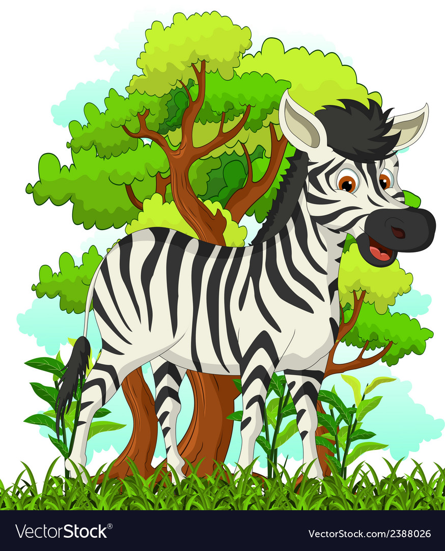 Zebra cartoon with forest background vector | Price: 1 Credit (USD $1)