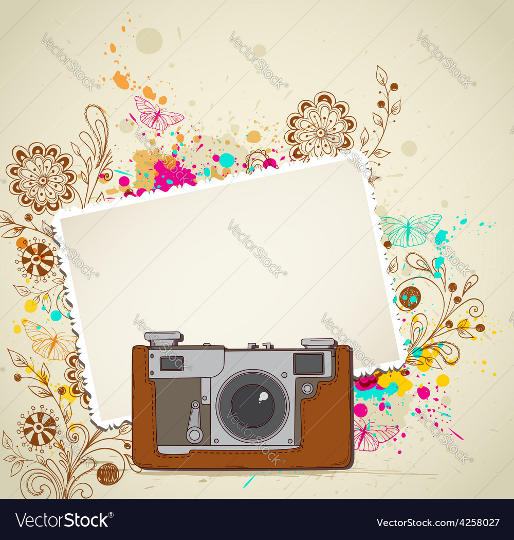 Abstract vintage camera and flowers vector | Price: 1 Credit (USD $1)