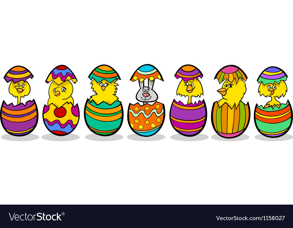 Chickens in easter eggs cartoon vector | Price: 1 Credit (USD $1)