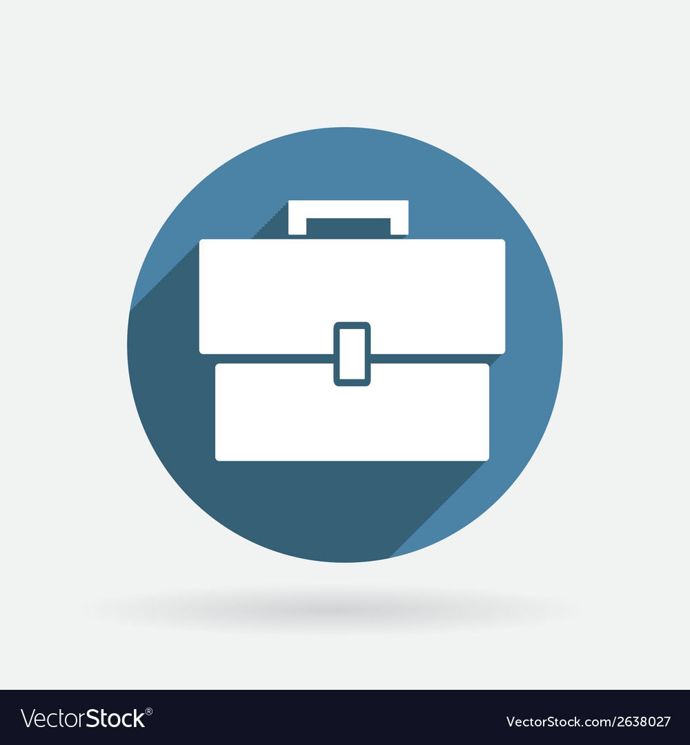 Circle blue icon with shadow briefcase vector | Price: 1 Credit (USD $1)