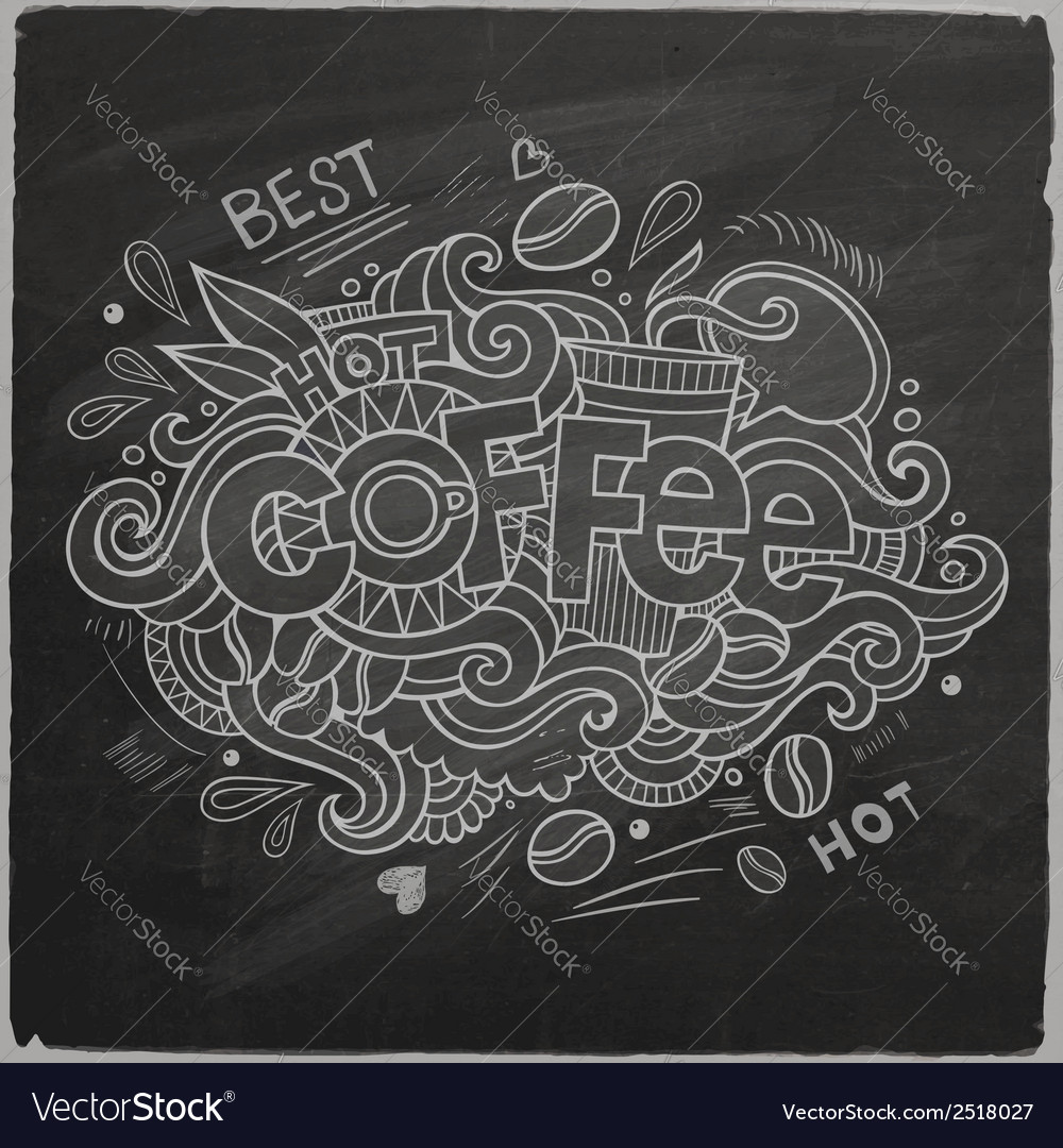 Coffee hand lettering on chalkboard vector | Price: 1 Credit (USD $1)
