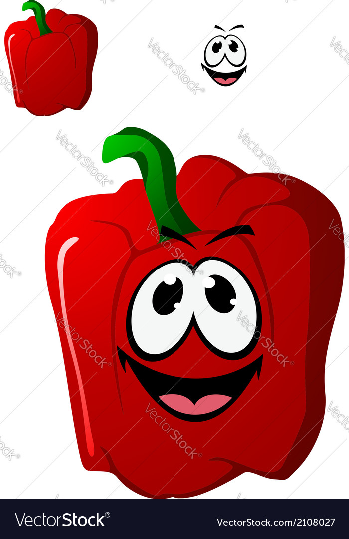 Colorful happy red sweet bell pepper vegetable vector | Price: 1 Credit (USD $1)
