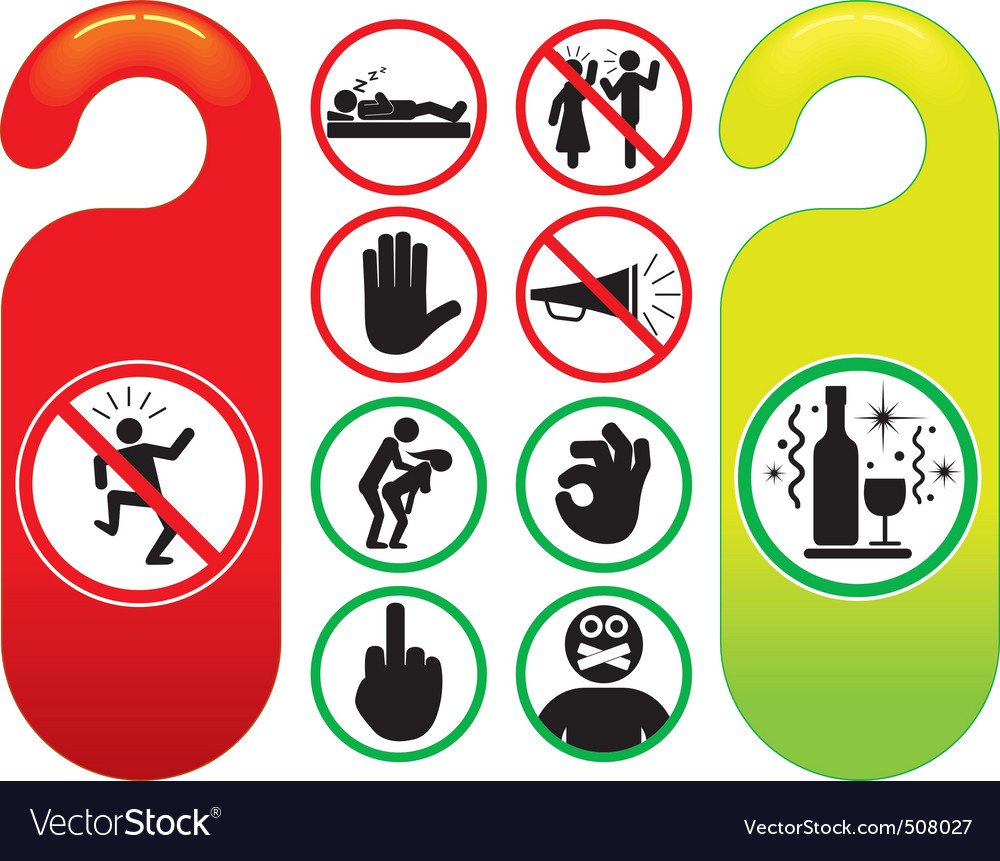 Do not disturb signs set vector | Price: 1 Credit (USD $1)