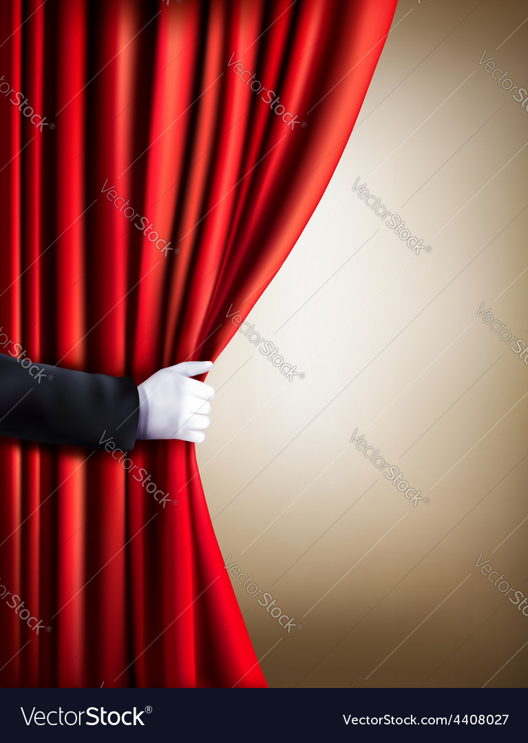Hand in a white glove pulling curtain away theater vector | Price: 3 Credit (USD $3)