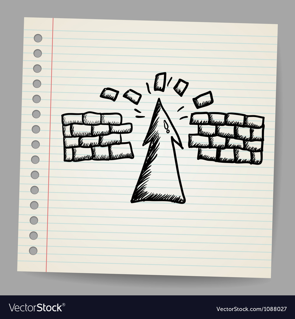 Hand-drawn arrow doodle breaking the wall vector | Price: 1 Credit (USD $1)