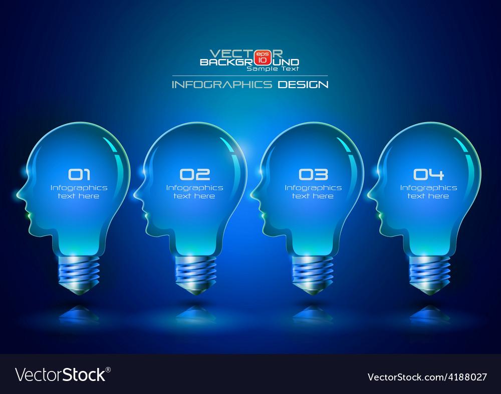 Human head light bulbs infographics design vector | Price: 1 Credit (USD $1)