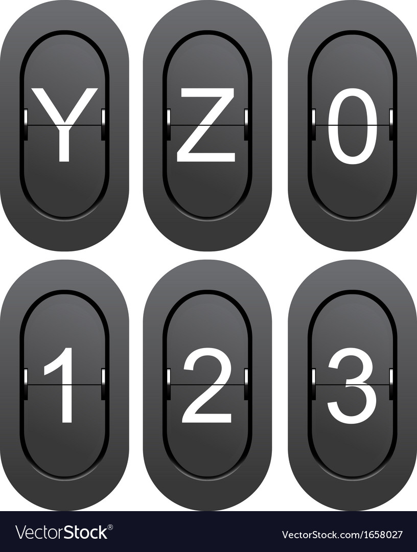 Numeric series 0 to 1 from mechanical scoreboard vector | Price: 1 Credit (USD $1)