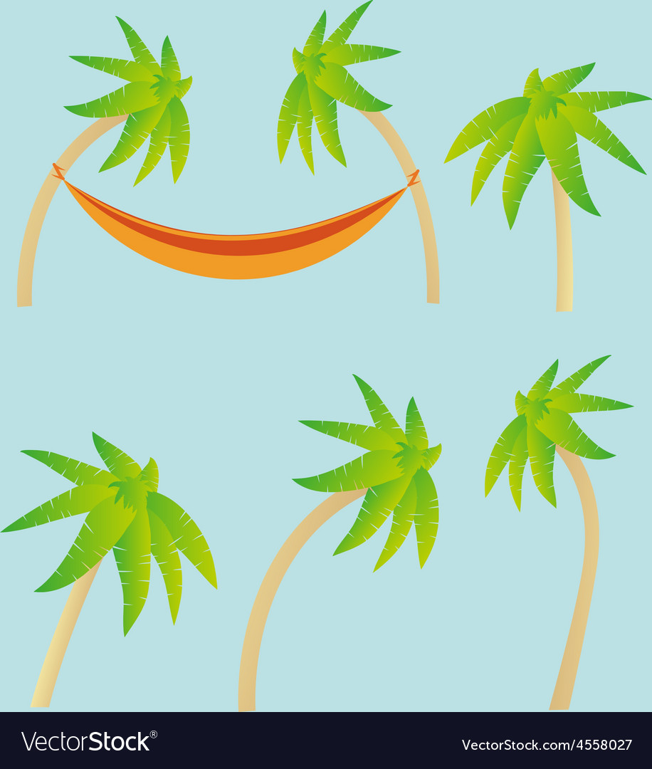 Palm trees and hammock elements vector | Price: 1 Credit (USD $1)
