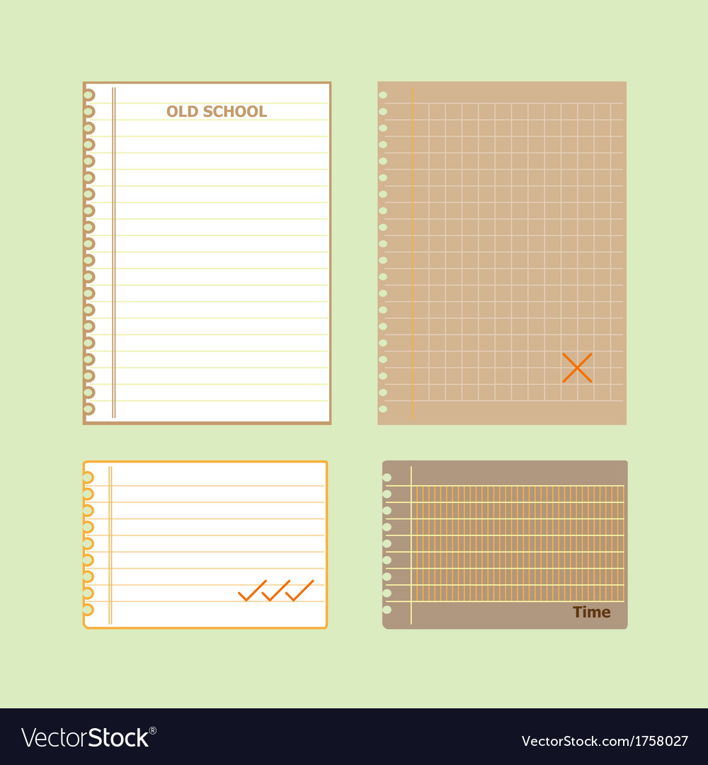 Retro lined papers on green background vector | Price: 1 Credit (USD $1)