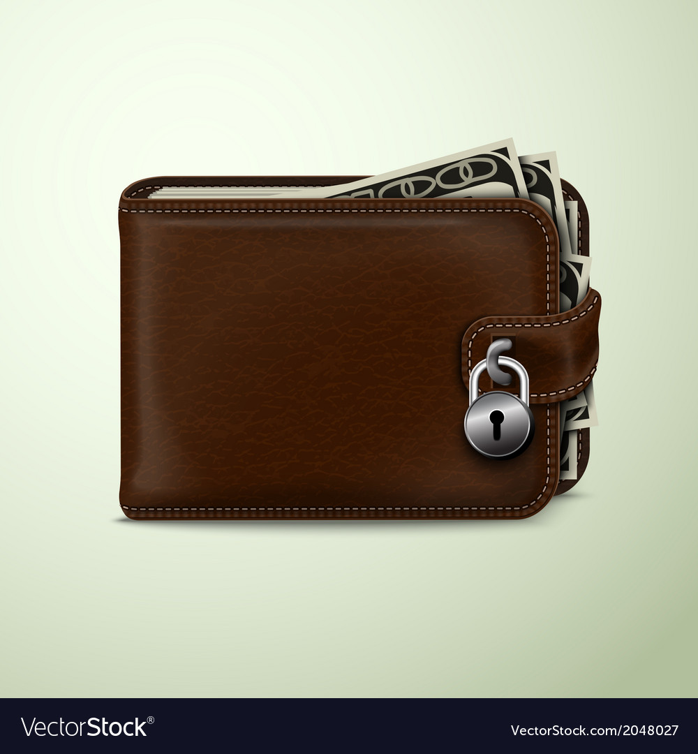 Wallet locked with padlock vector | Price: 1 Credit (USD $1)