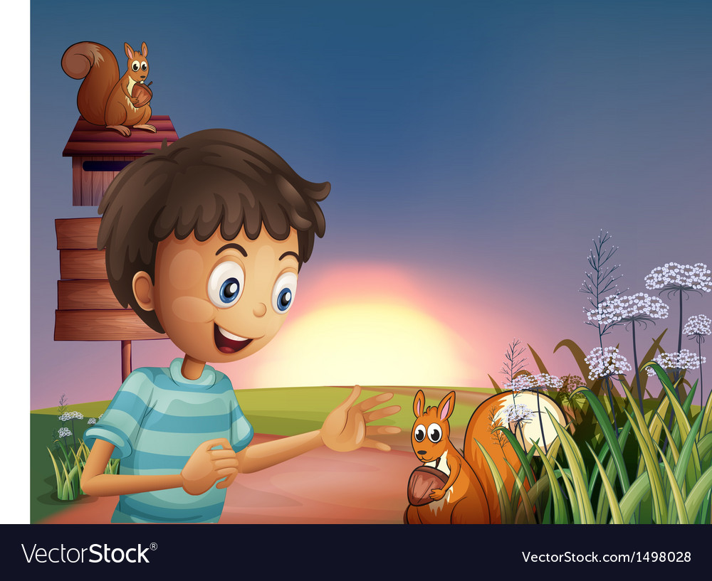 A young boy amazed by the squirrel vector | Price: 1 Credit (USD $1)