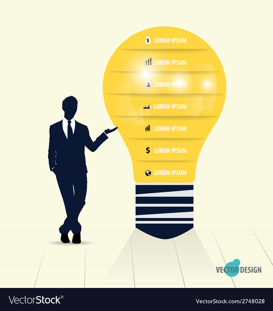 Businessman showing light bulb with infographic vector | Price: 1 Credit (USD $1)