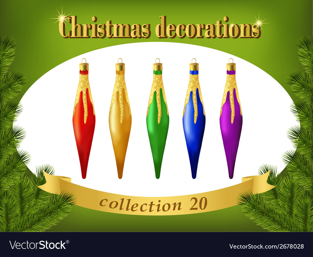 Christmas ornaments collection of decorative vector | Price: 1 Credit (USD $1)