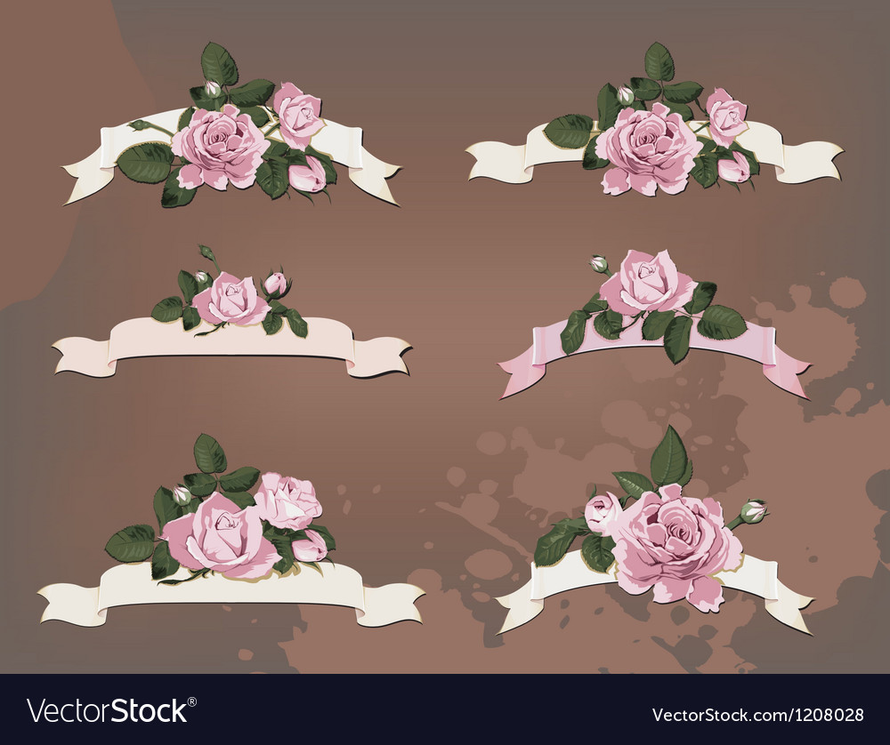 Collection of a different ribbon roses vector | Price: 1 Credit (USD $1)