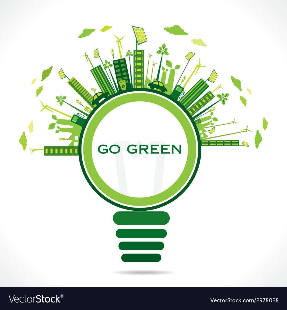 Creative design for go green or save earth concept vector | Price: 1 Credit (USD $1)