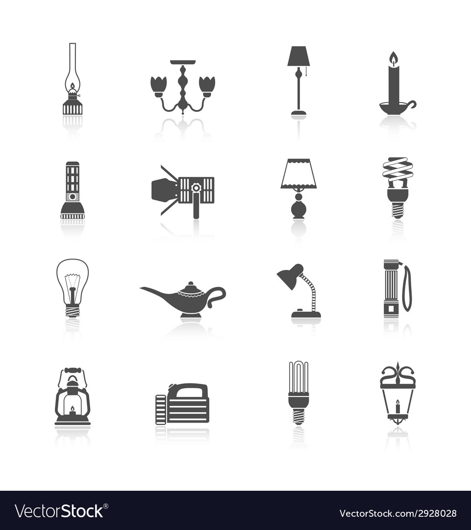 Flashlight and lamps icons black set vector | Price: 1 Credit (USD $1)