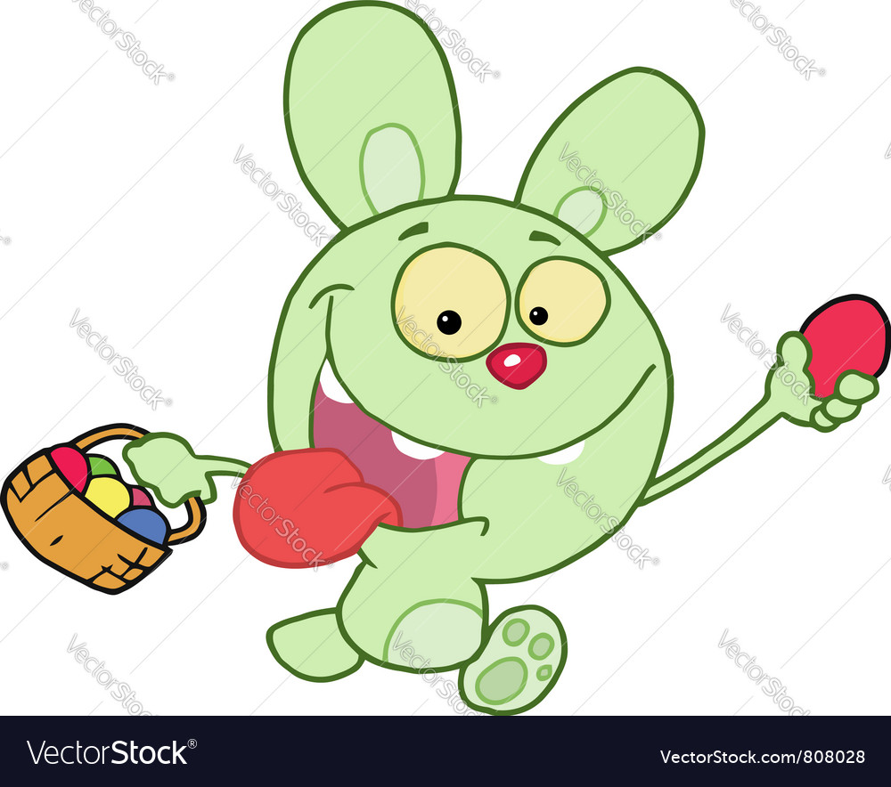 Green bunny running and holding up an egg vector | Price: 1 Credit (USD $1)