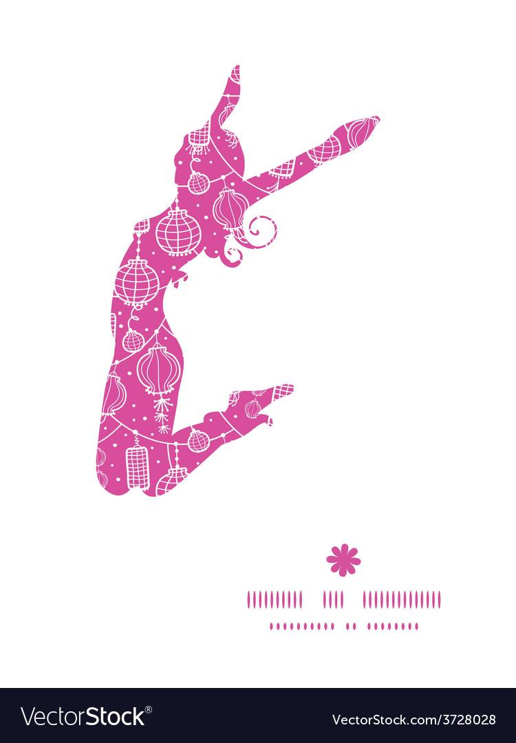 Holiday lanterns line art jumping girl vector | Price: 1 Credit (USD $1)