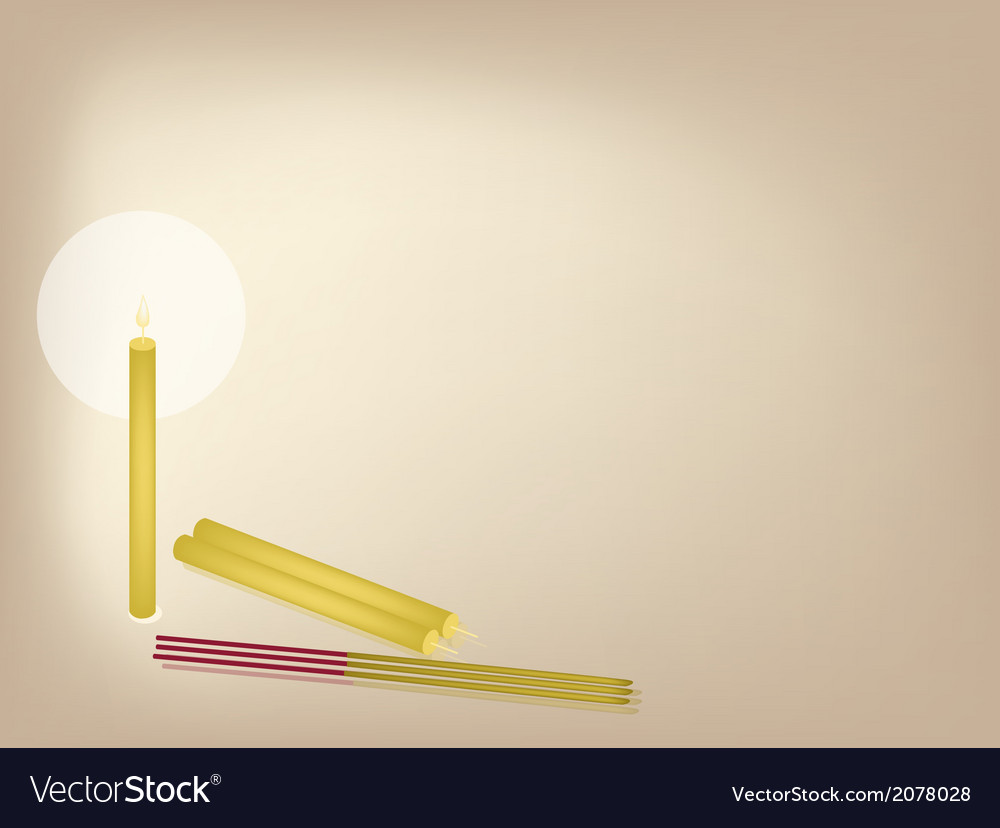 Joss sticks and candles on brown background vector | Price: 1 Credit (USD $1)