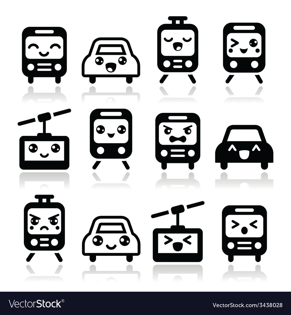 Kawaii cute icons - car bus train tram vector | Price: 1 Credit (USD $1)