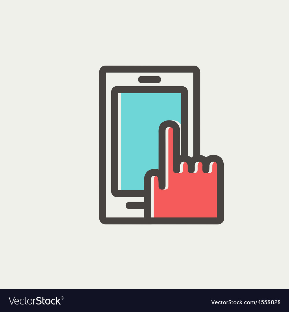 Mobile phone thin line icon vector | Price: 1 Credit (USD $1)