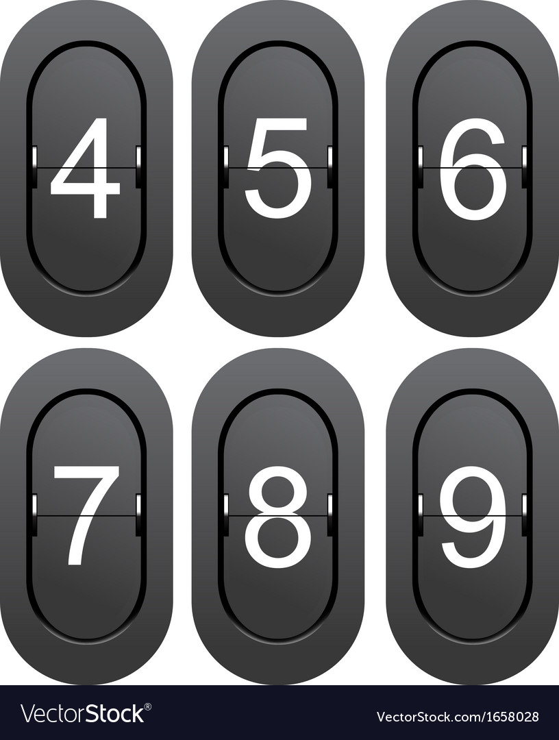 Numeric series 4 to 9 from mechanical scoreboard vector | Price: 1 Credit (USD $1)
