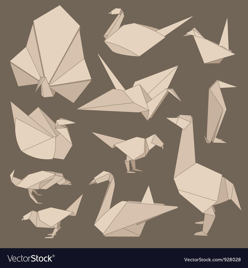 Origami birds vector