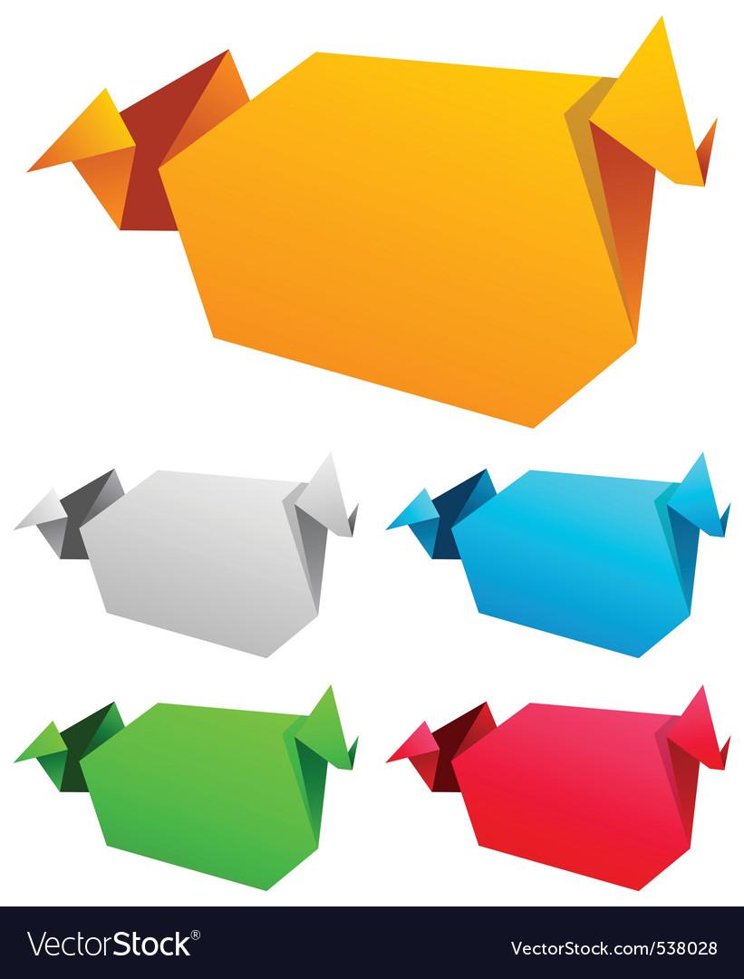 Origami speech bubble vector vector | Price: 1 Credit (USD $1)