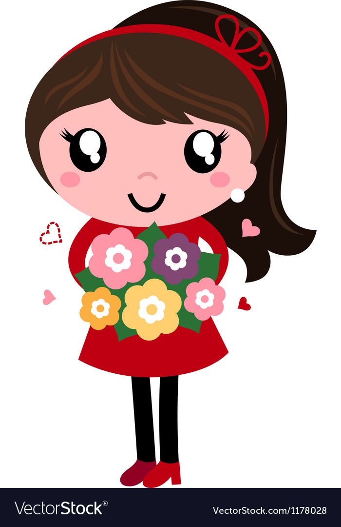 Retro mom holding flowers for mothers day vector | Price: 1 Credit (USD $1)