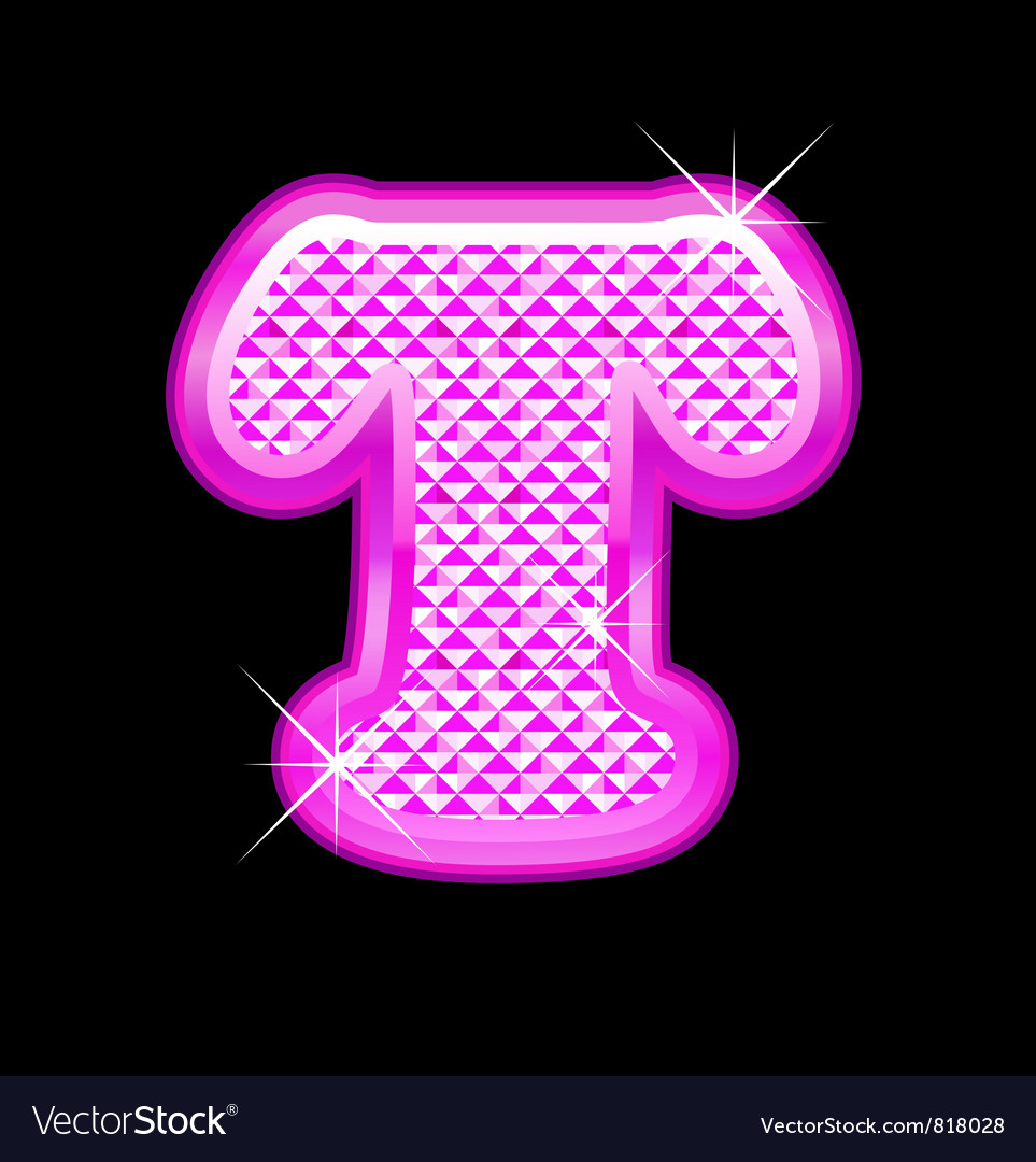 T letter pink bling girly vector | Price: 1 Credit (USD $1)
