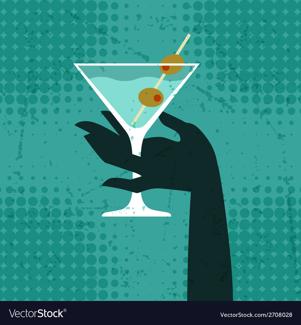 With glass of martini and hand vector | Price: 1 Credit (USD $1)